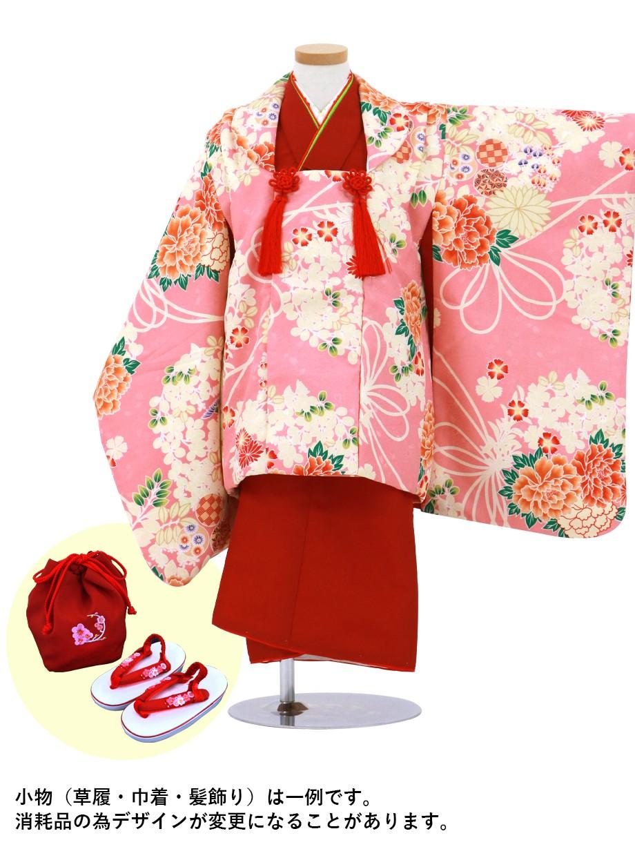 赤地の着物にピンクに牡丹と萩の被布コートセット/七五三・三歳女の子