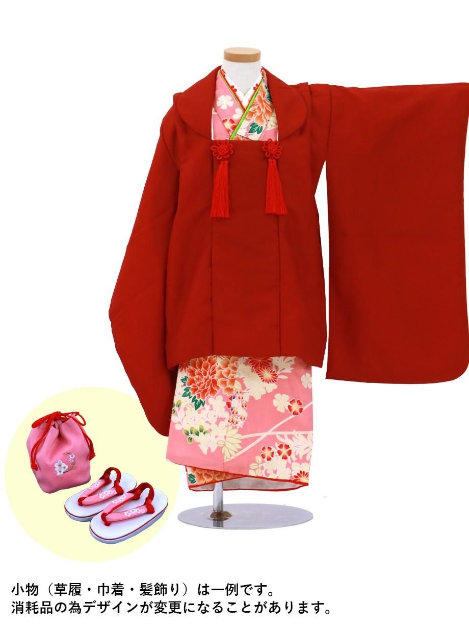 ピンクに牡丹と萩の着物、赤の被布コートセット/七五三・三歳女の子