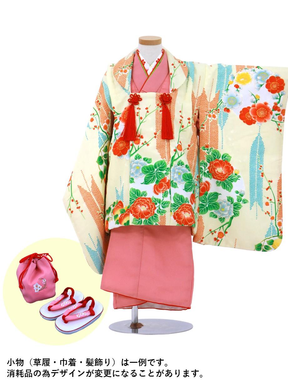 ピンク地の着物にクリームに矢絣と牡丹の被布コートセット/七五三・三歳女の子