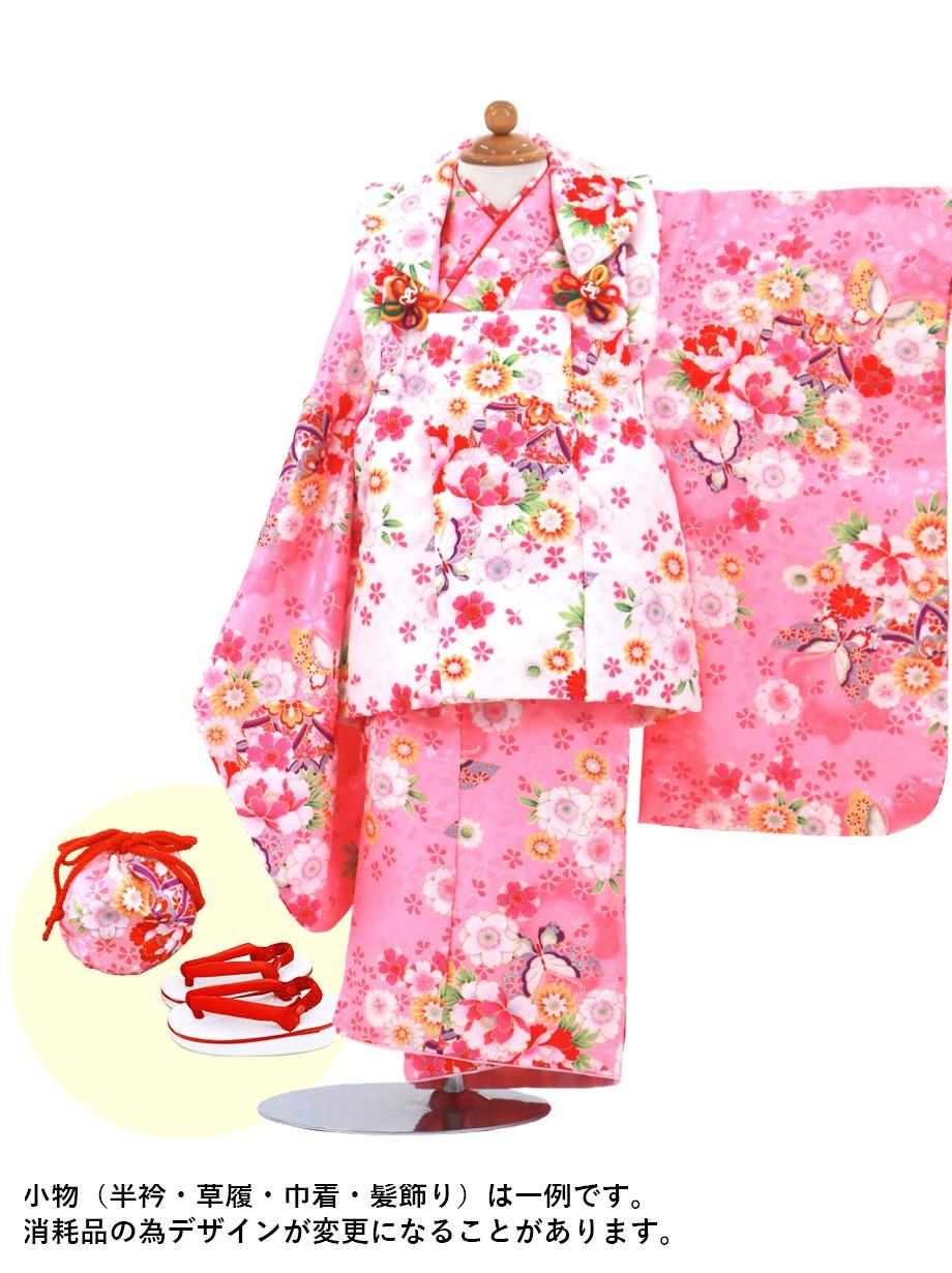 ちょうちょの着物に白の被布コートセット/七五三・三歳女の子*