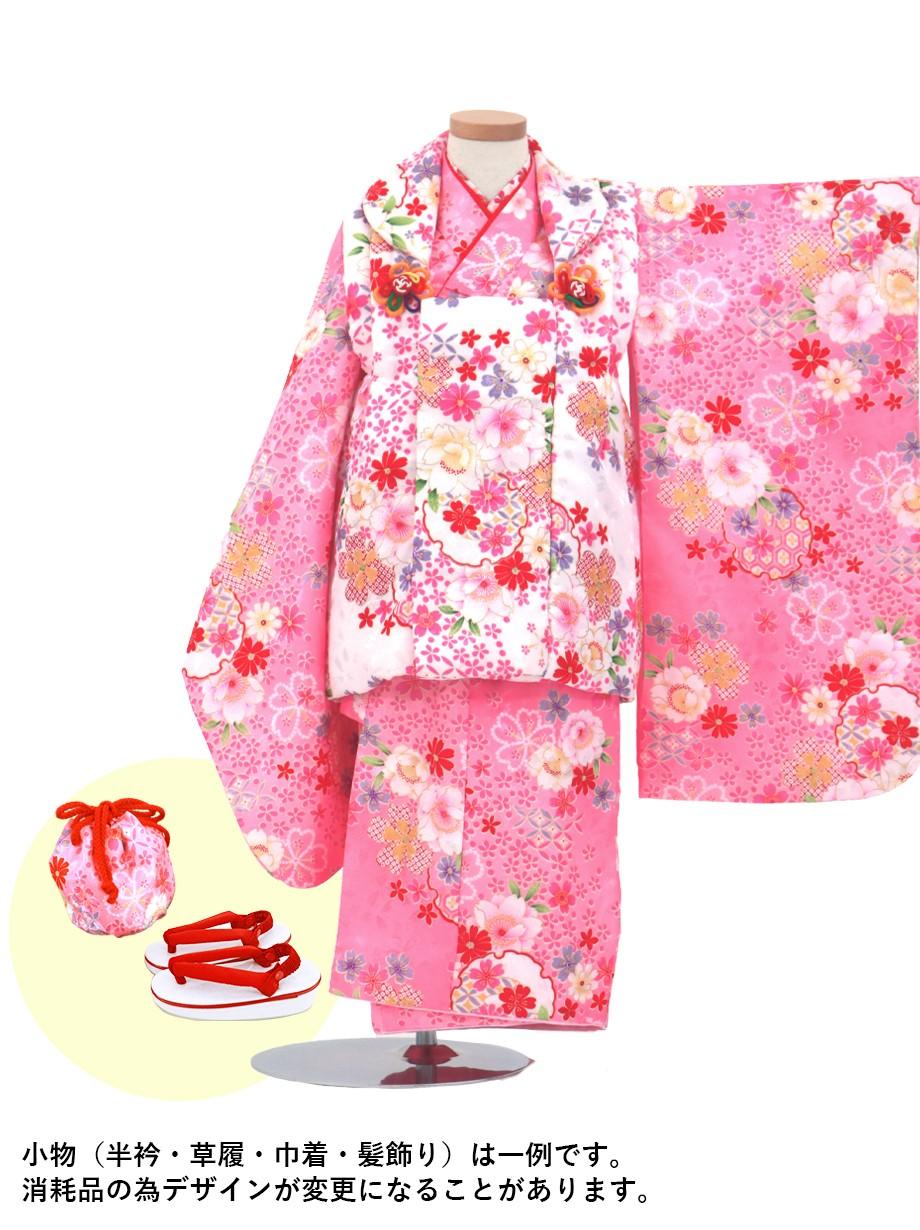 桜柄の着物に白の被布コートセット/七五三・三歳女の子*