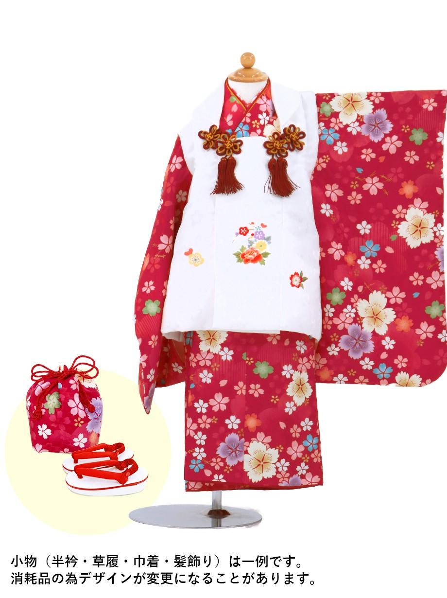赤地に撫子と桜の被布コートセット/七五三・三歳女の子*