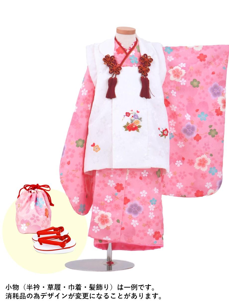 ピンク地に撫子と桜の被布コートセット/七五三・三歳女の子*