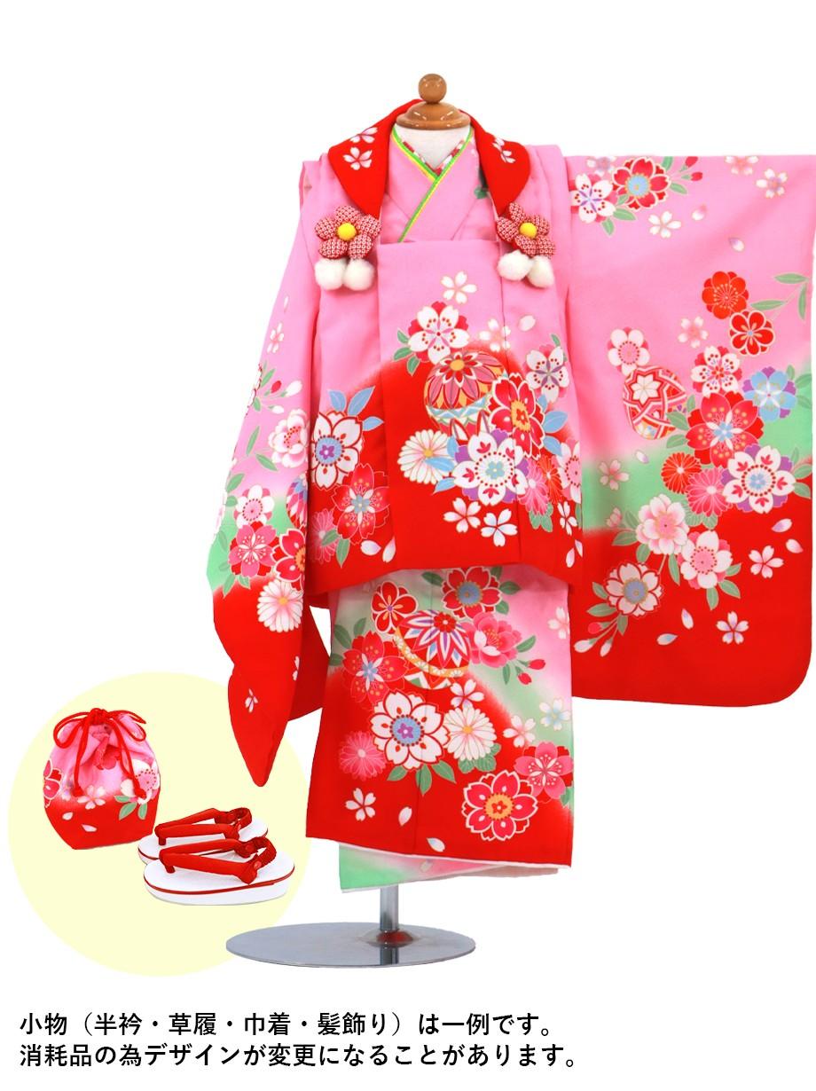 ピンクに桜と鞠の被布コートセット/七五三・三歳女の子*