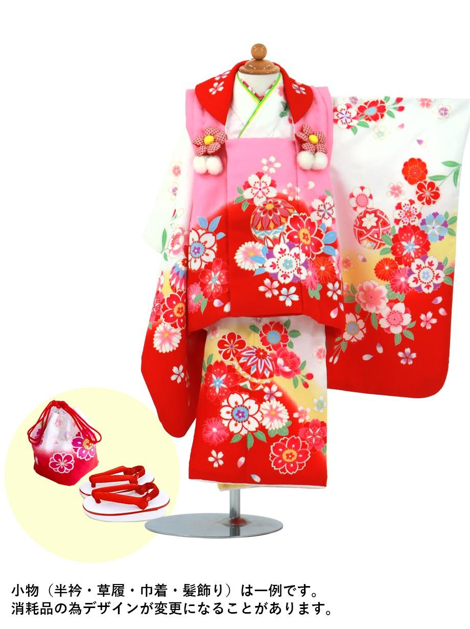 白色に桜と鞠の被布コートセット/七五三・三歳女の子*