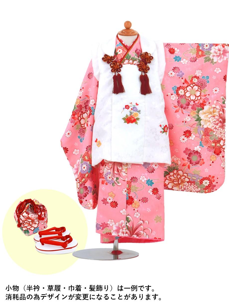 ピンク地に牡丹と桜の被布コートセット/七五三・三歳女の子*