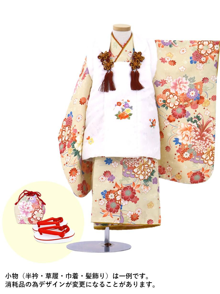 ベージュ地に菊と牡丹の被布コートセット/七五三・三歳女の子*