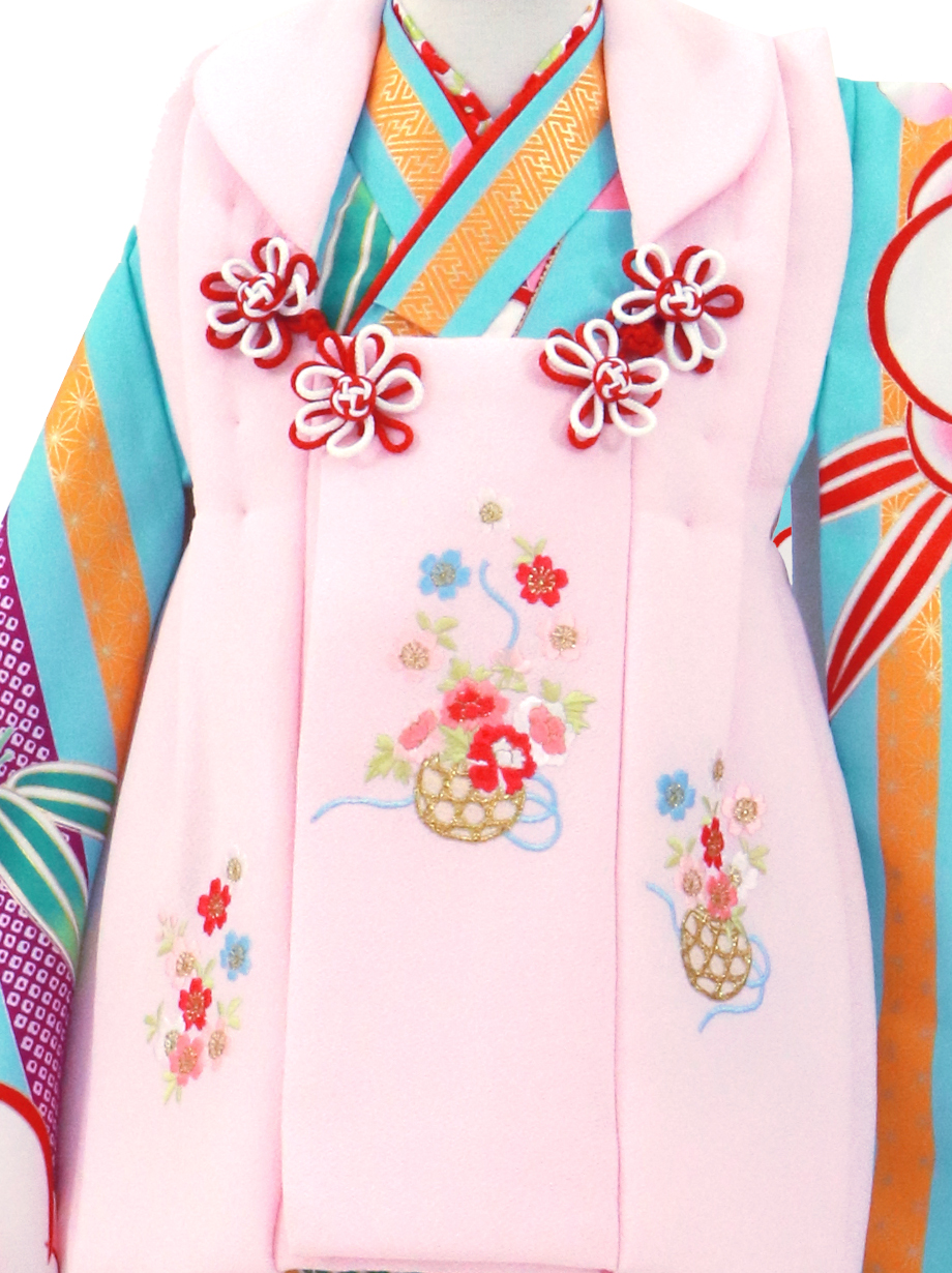 水色地に縞と梅、桜色の被布コートセット/七五三・三歳女の子