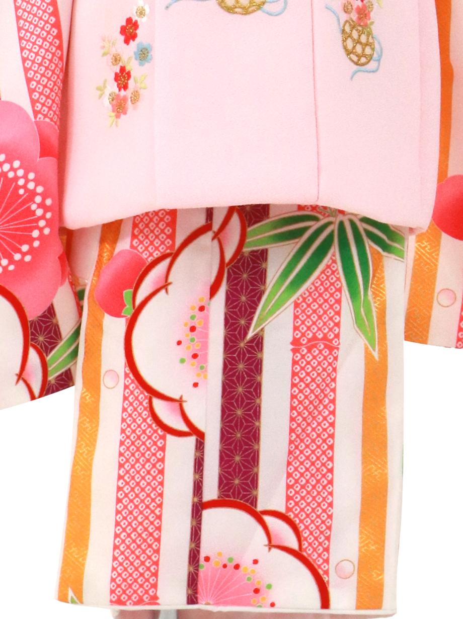 白地に縞と梅、桜色の被布コートセット/七五三・三歳女の子
