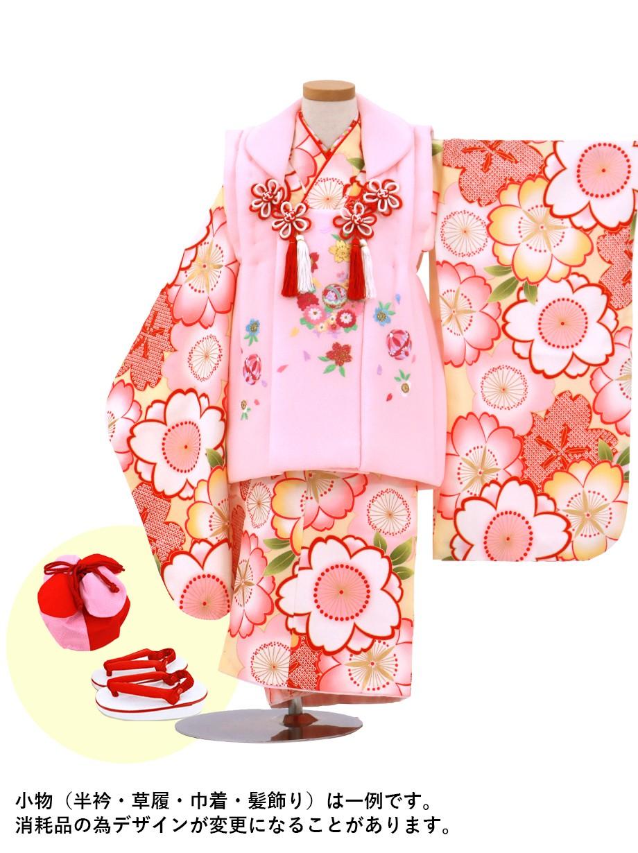 クリームイエローに桜づくし、ピンク色の被布コートセット/七五三・三歳女の子