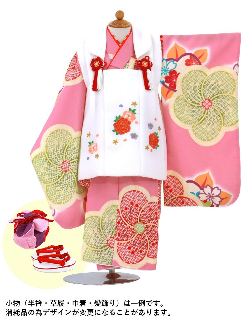 ピンク地にねじり梅、白の被布コートセット/七五三・三歳女の子