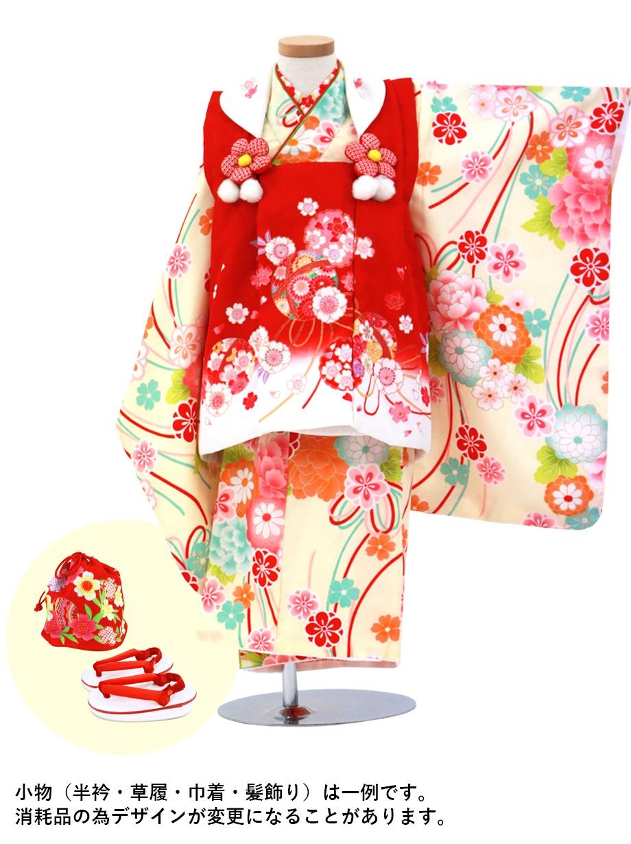 薄クリームに花尽くしとリボン、赤の被布コートセット/七五三・三歳女の子
