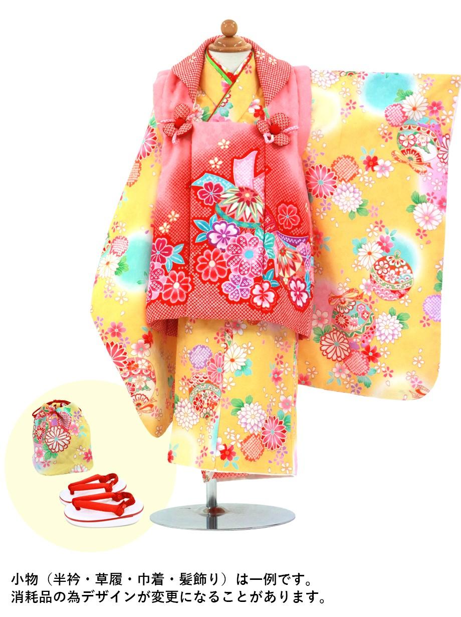 濃黄色地に花と鈴の被布コートセット/七五三・三歳女の子