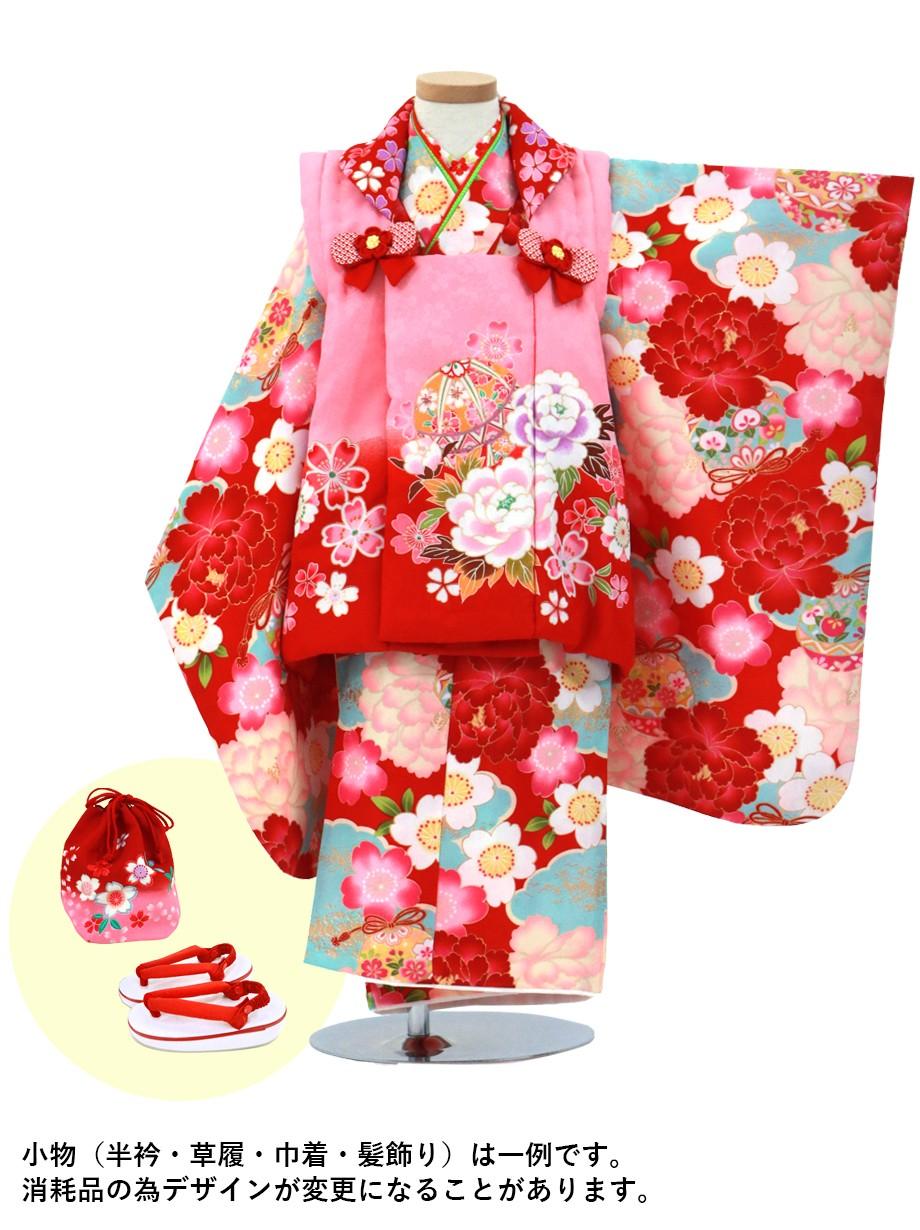赤地に大輪の牡丹と雲取り、ピンクに毬の被布コートセット/七五三・三歳女の子**