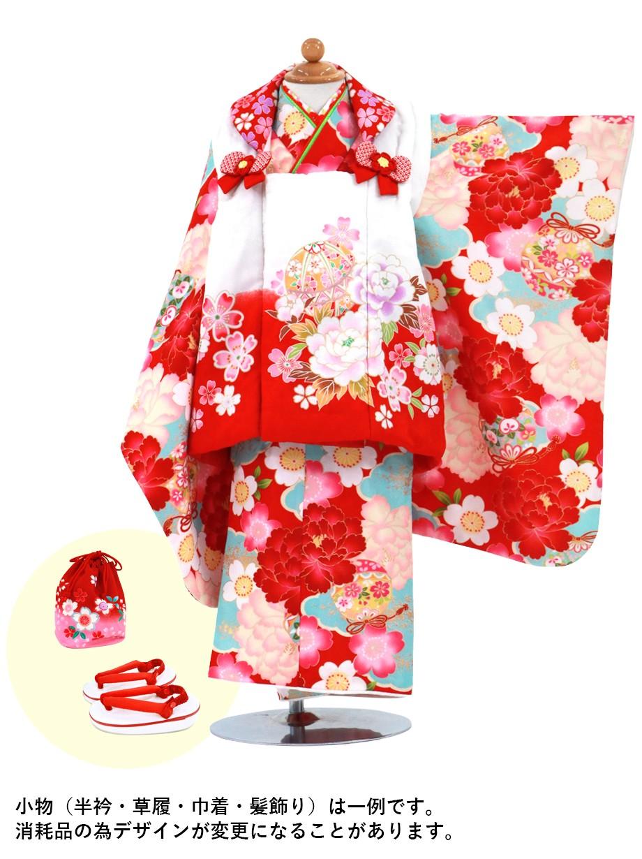 赤地に大輪の牡丹と雲取り、白に毬の被布コートセット/七五三・三歳女の子*
