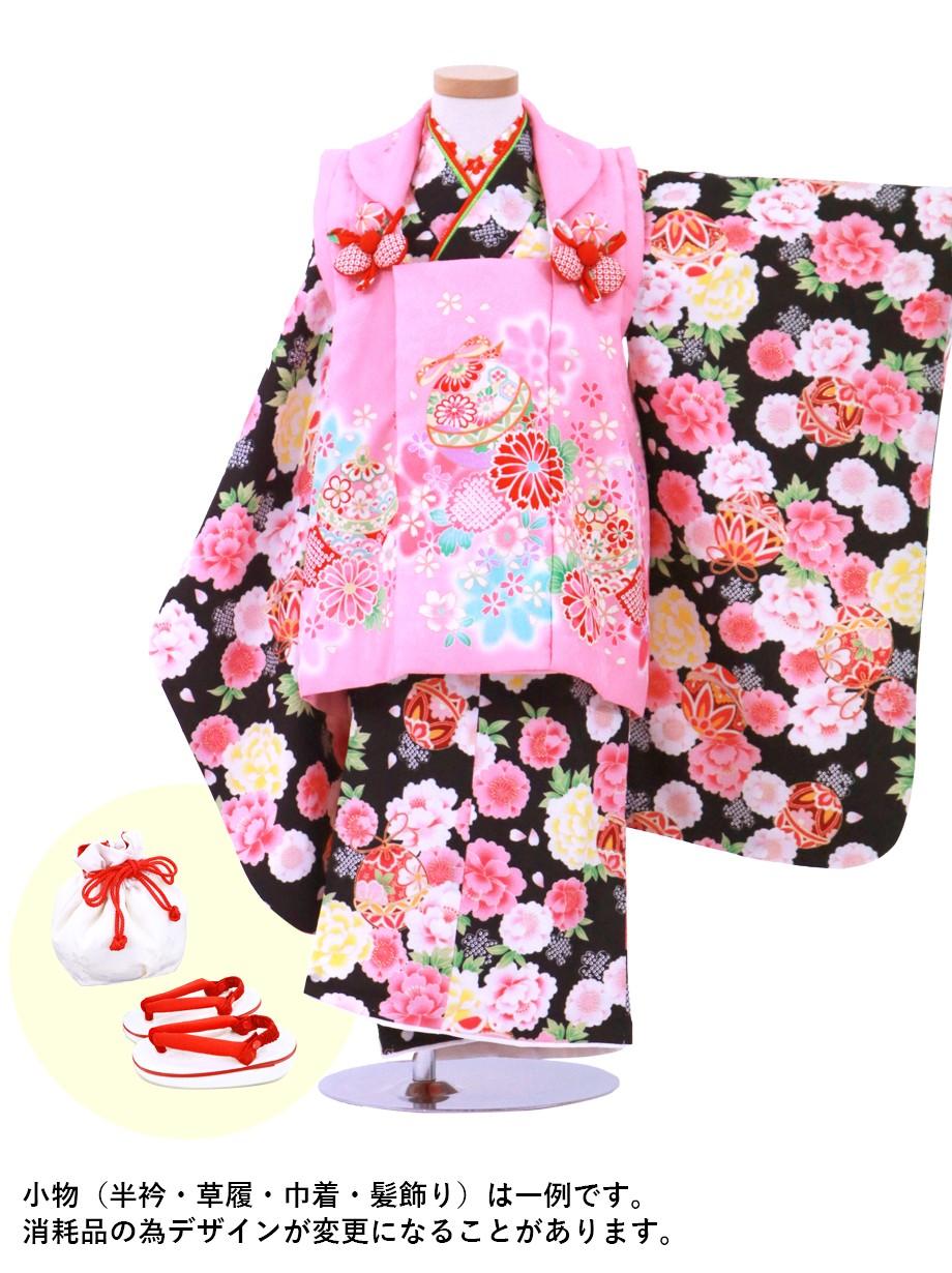 黒地に牡丹と桜、鈴の着物にピンクの被布コートセット/七五三・三歳女の子