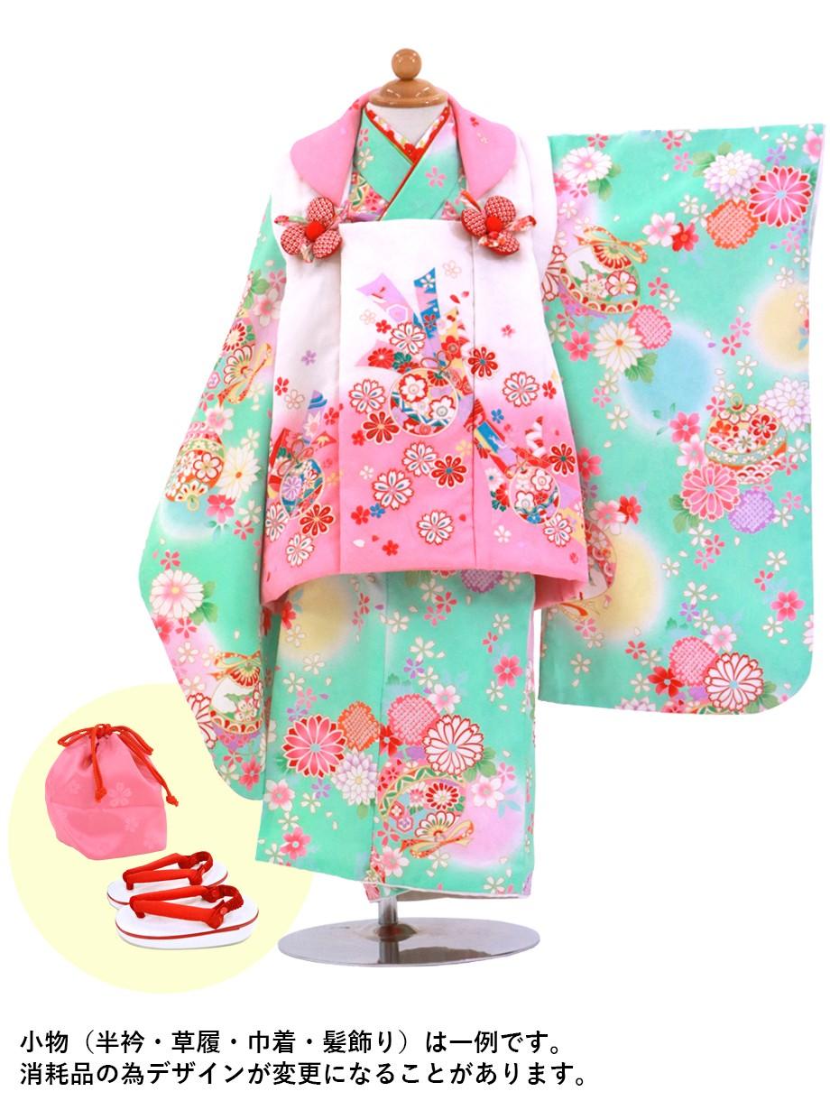 ミントグリーンに花柄と鈴と熨斗の被布コートセット/七五三・三歳女の子