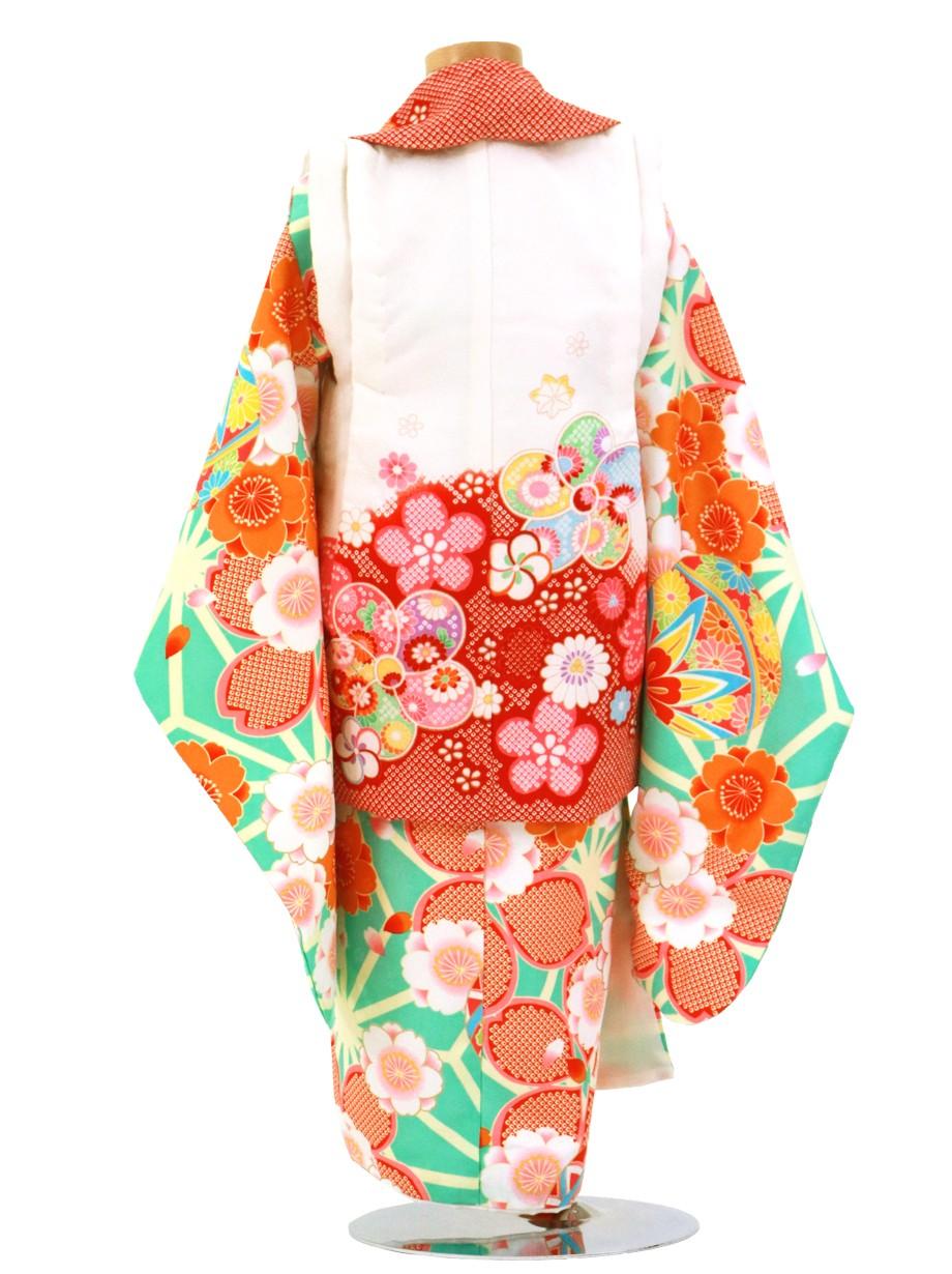 ミントグリーンの麻の葉に桜づくし、白と赤の被布コートセット/七五三・三歳女の子