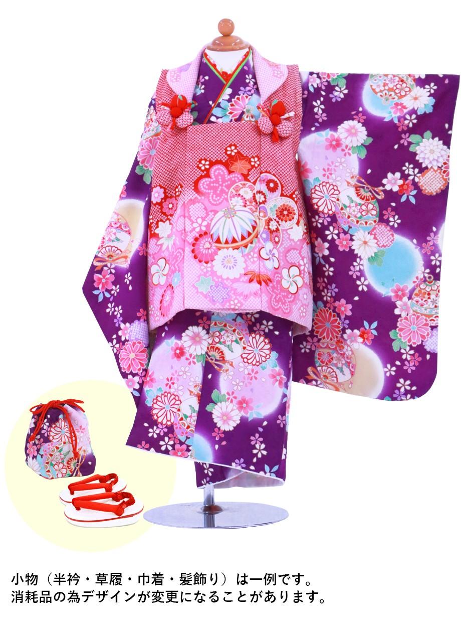 紫地に花柄と鈴と熨斗の被布コートセット/七五三・三歳女の子
