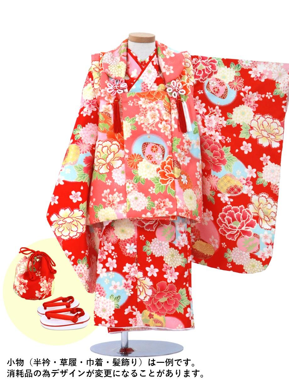 赤地に花尽くしと貝合わせの着物の被布コートセット/七五三・三歳女の子