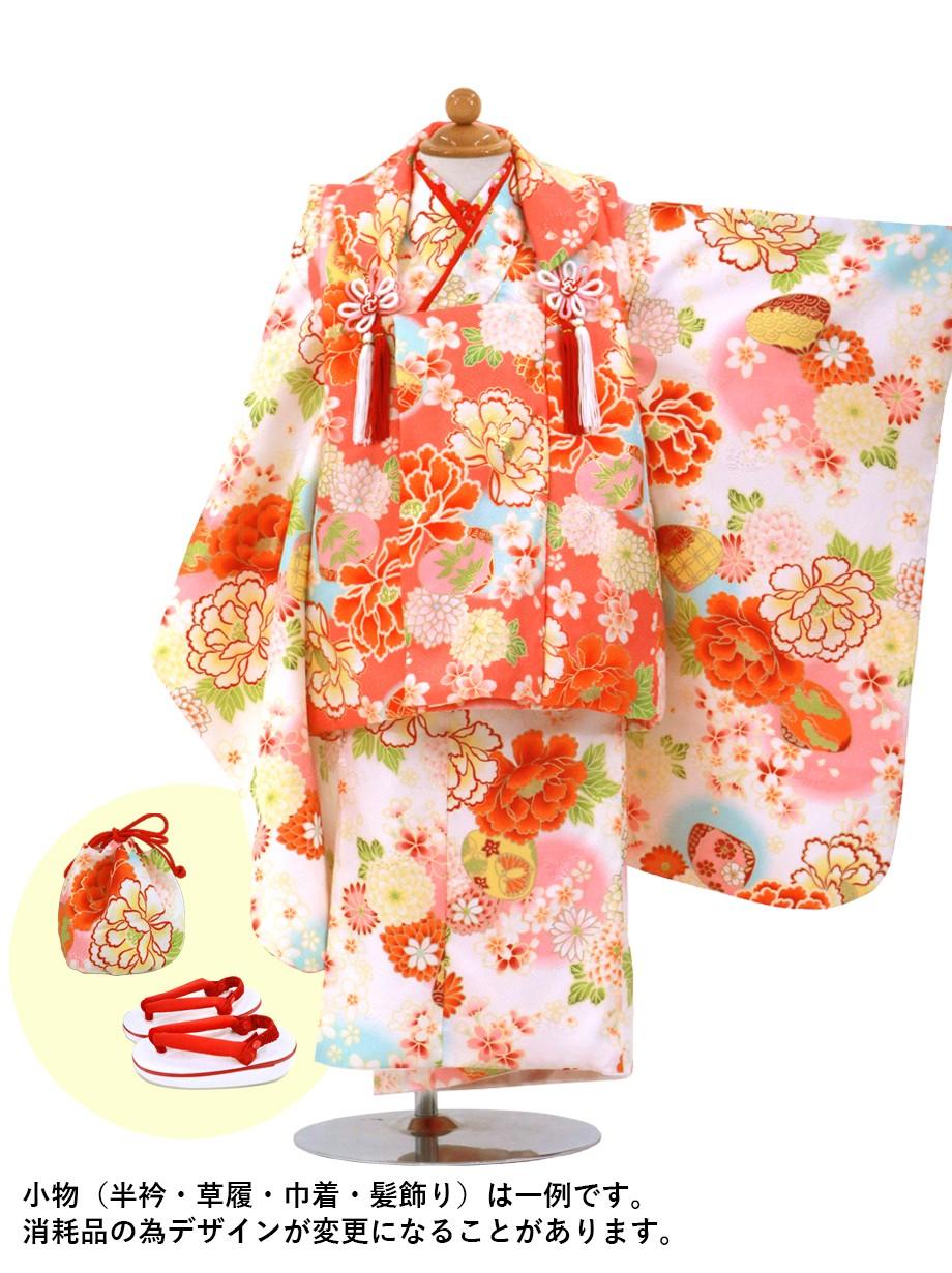白地に花尽くしと貝合わせの着物の被布コートセット/七五三・三歳女の子*