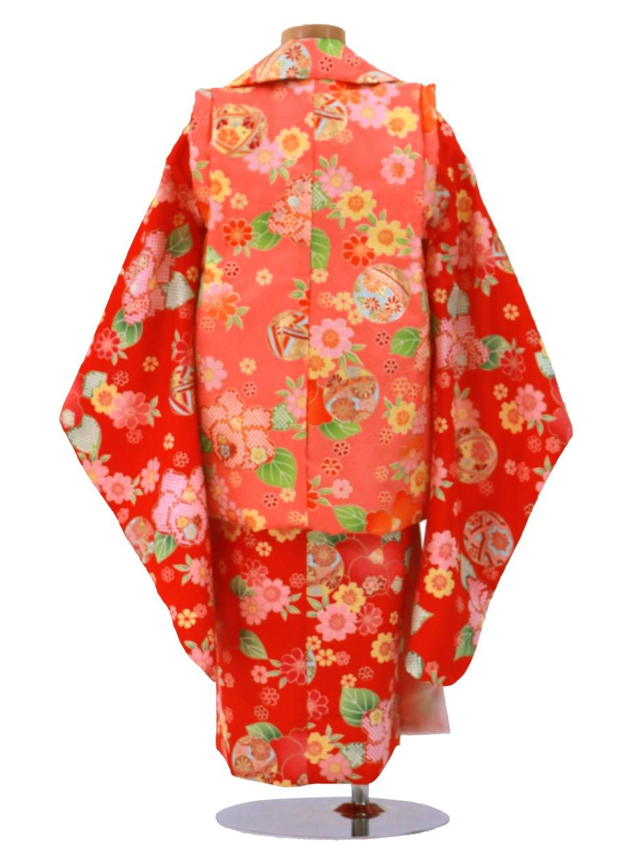赤地にレトロな花尽くしの被布コートセット/七五三・三歳女の子