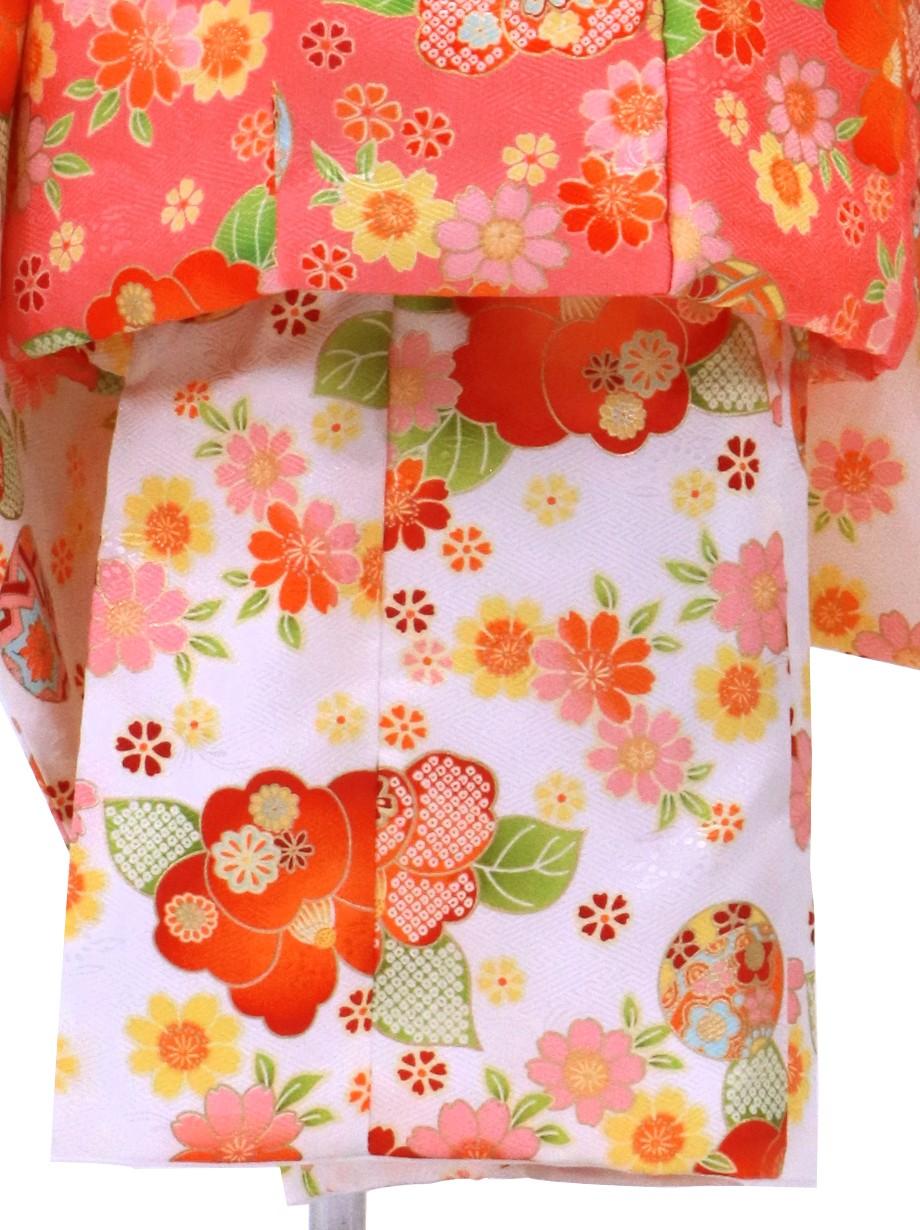 白地にレトロな花尽くしの被布コートセット/七五三・三歳女の子