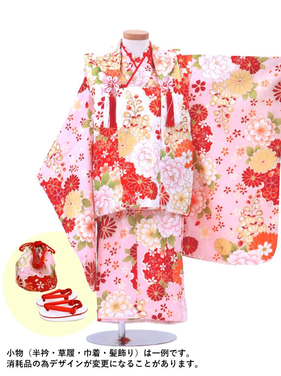 薄ピンク色に牡丹と雪輪、白地の被布コートセット/七五三・三歳女の子
