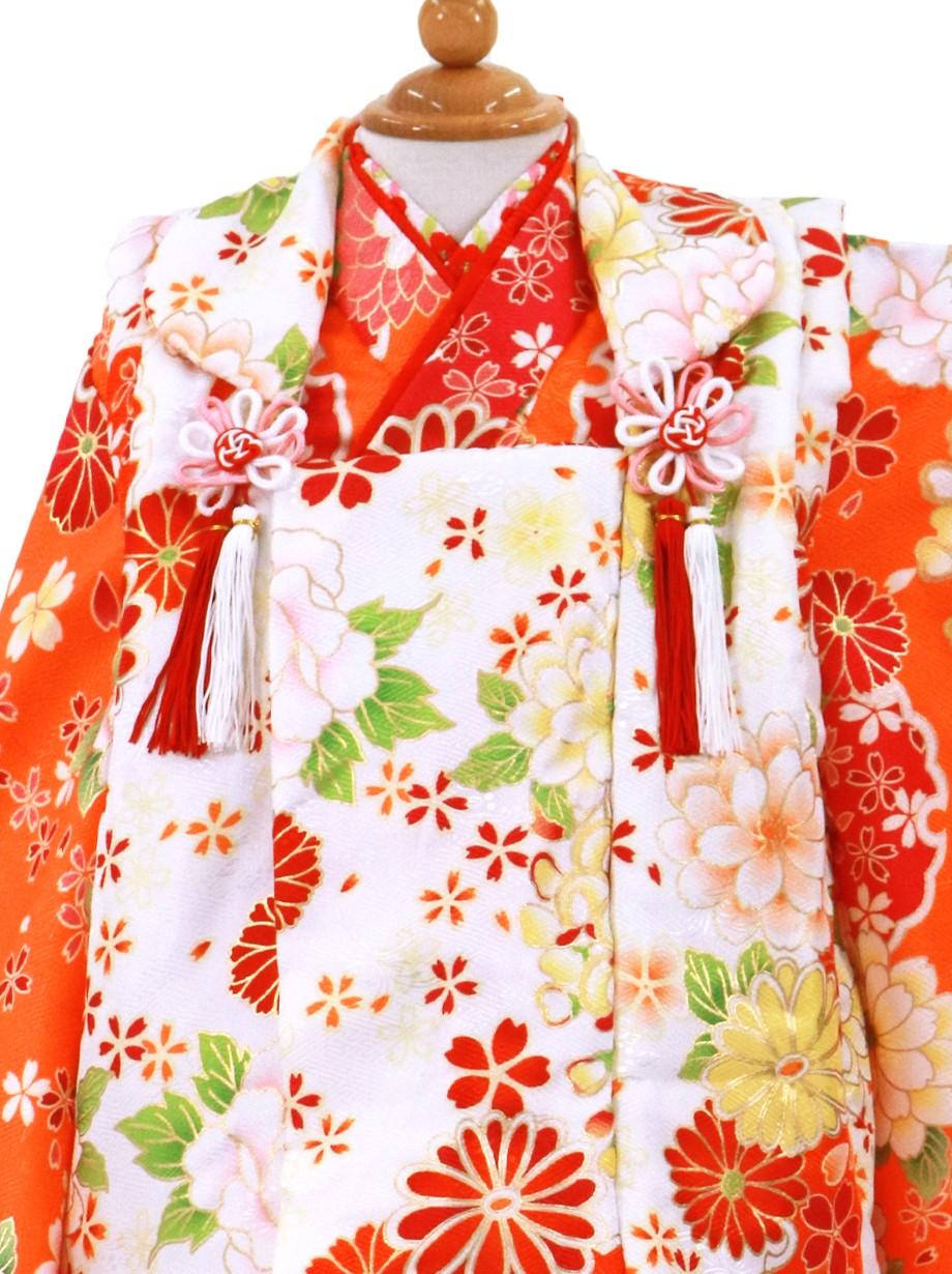 オレンジに牡丹と雪輪、白地の被布コートセット/七五三・三歳女の子