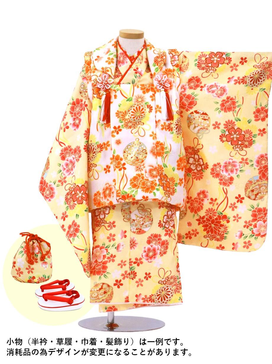 クリームイエローに桜と鈴、白の被布コートセット/七五三・三歳女の子*