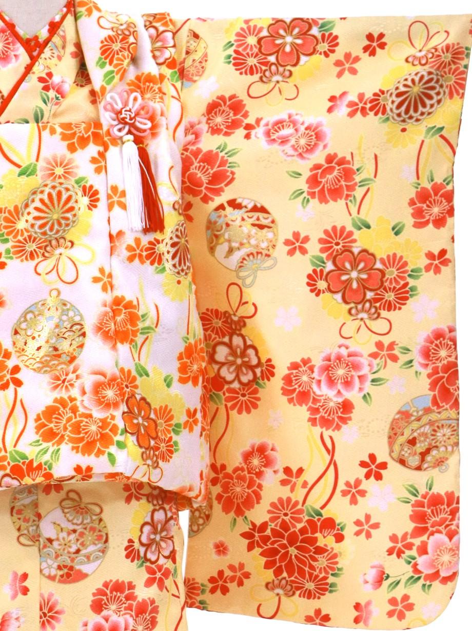 クリームイエローに桜と鈴、白の被布コートセット/七五三・三歳女の子