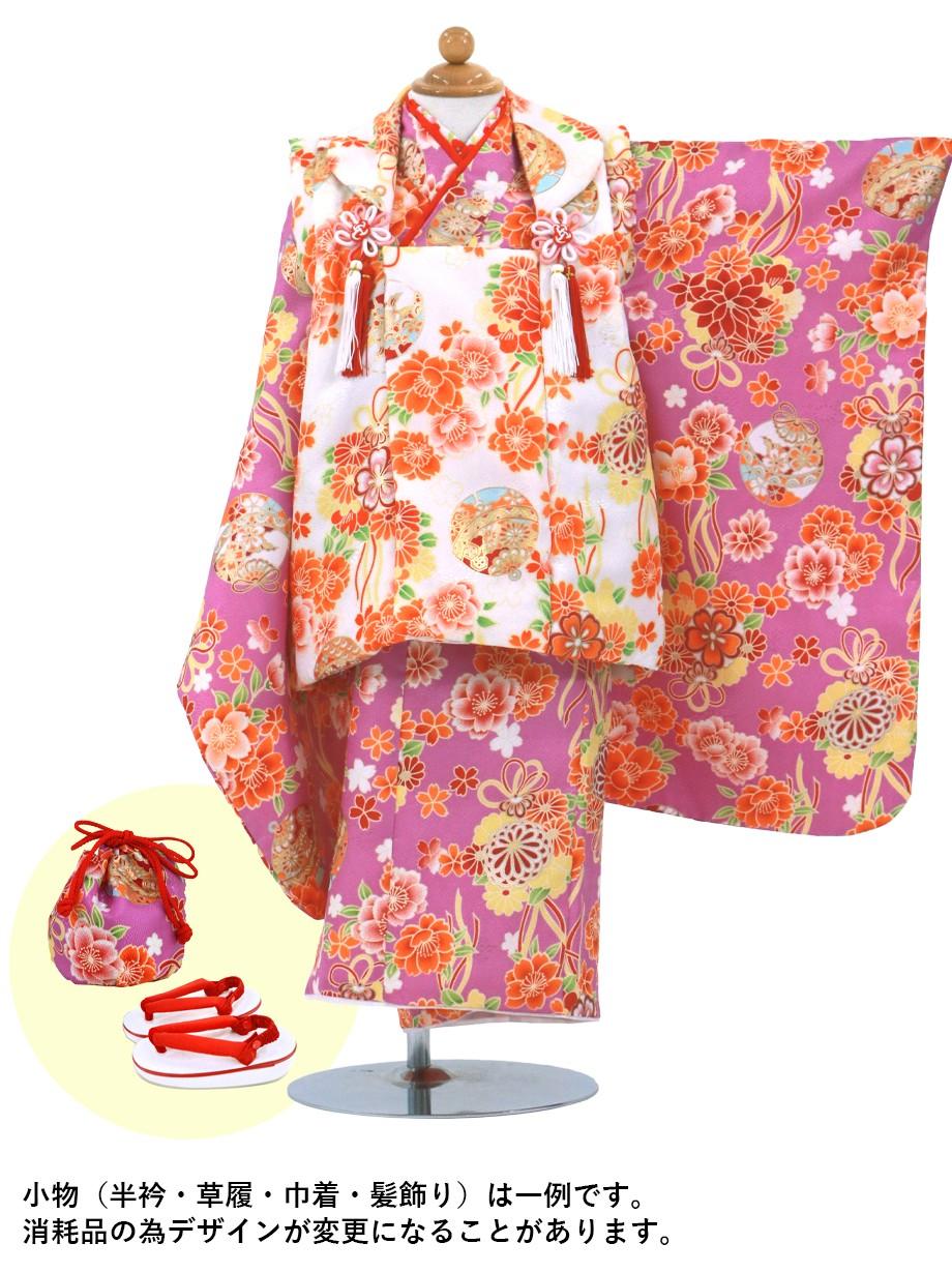 紫地に桜と鈴、白の被布コートセット/七五三・三歳女の子*
