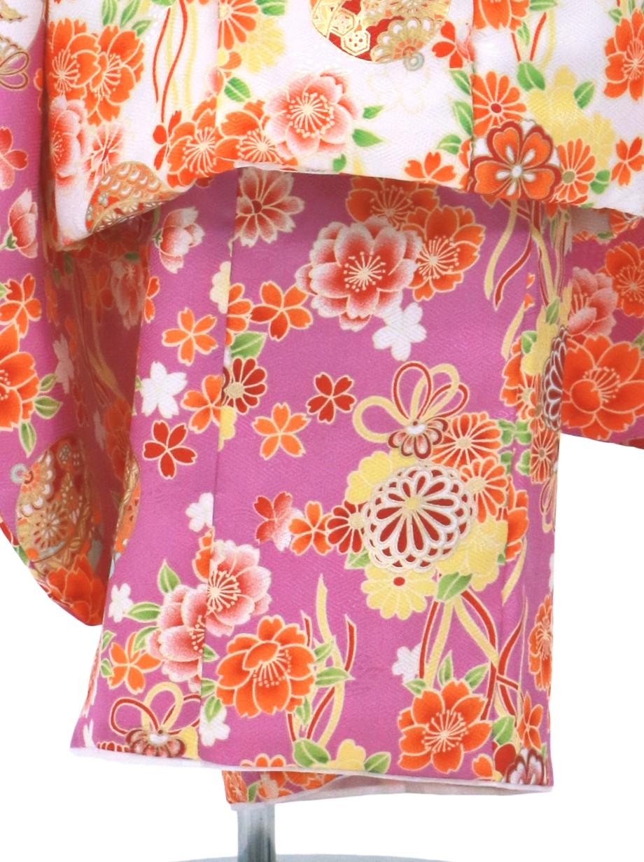 紫地に桜と鈴、白の被布コートセット/七五三・三歳女の子