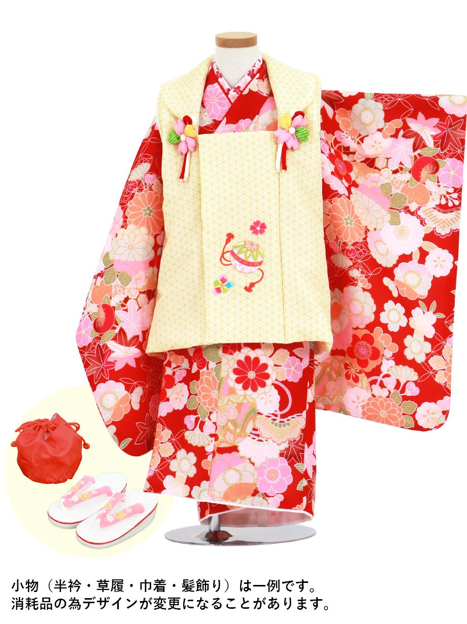 赤地に花尽くしと鞠、黄色の麻の葉模様の被布コートセット/七五三・三歳女の子*