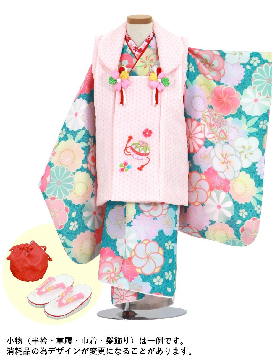 青地にねじ梅と桜に鞠、ピンクの麻の葉の被布コートセット/七五三・三歳女の子