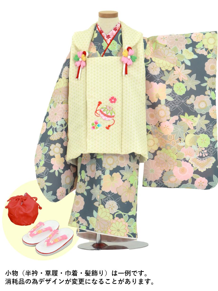 紺地に花尽くしと扇、黄色の麻の葉模様の被布コートセット/七五三・三歳女の子