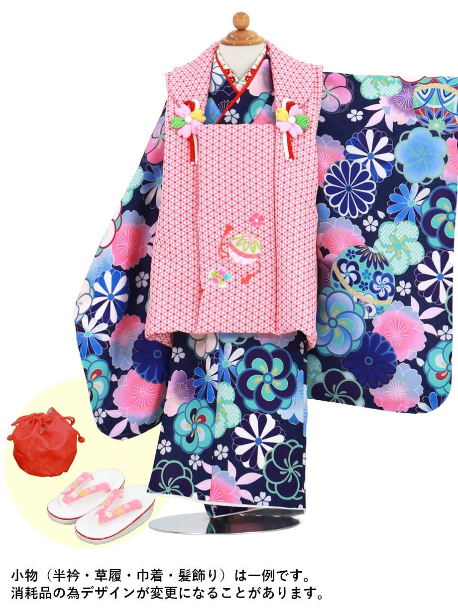 青紫地に鞠とねじ梅、菊の着物、赤地の麻の葉模様の被布コートセット/七五三・三歳女の子