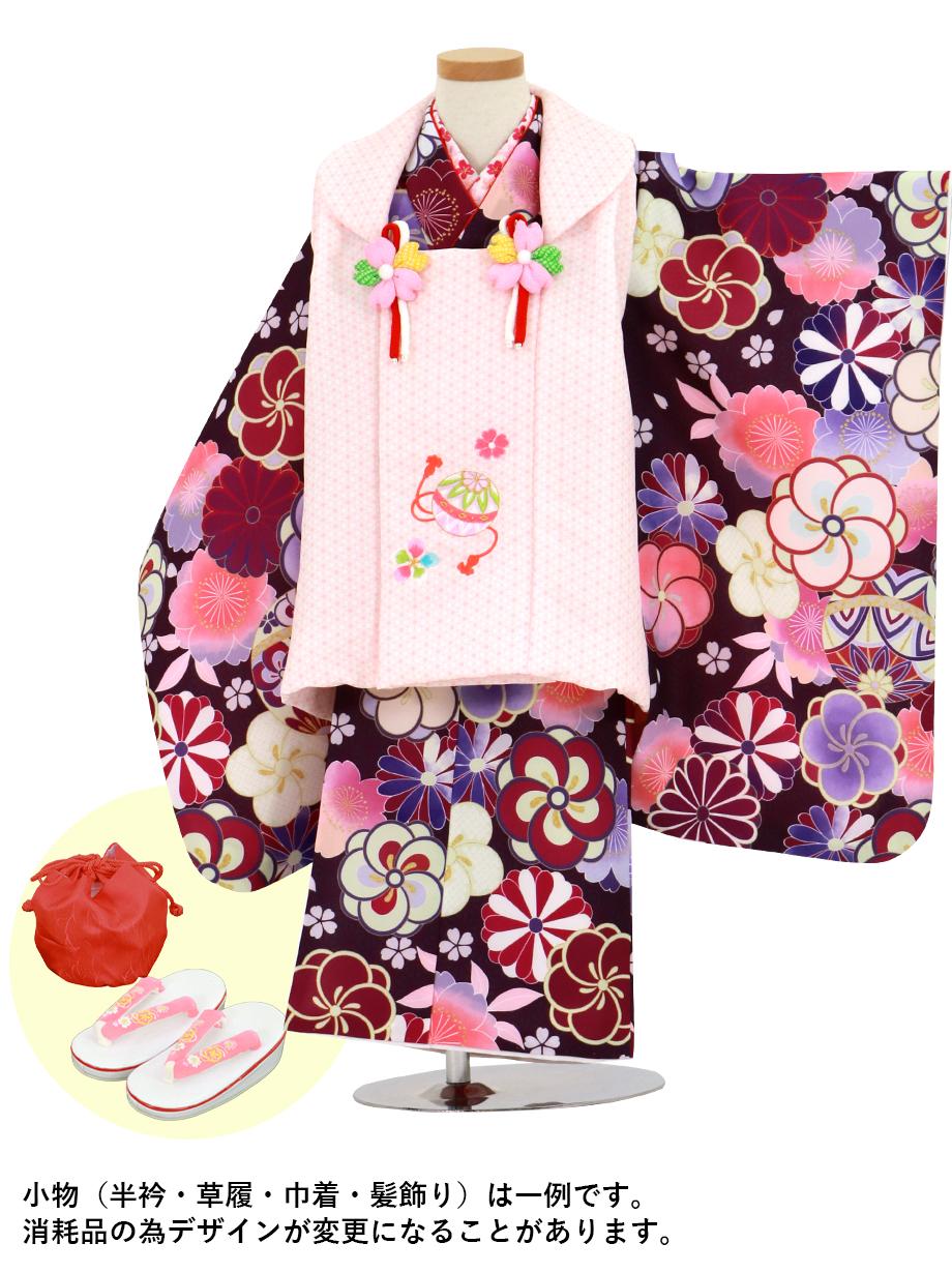 赤紫地に鞠とねじ梅、菊の着物、ピンク地の麻の葉模様の被布コートセット/七五三・三歳女の子