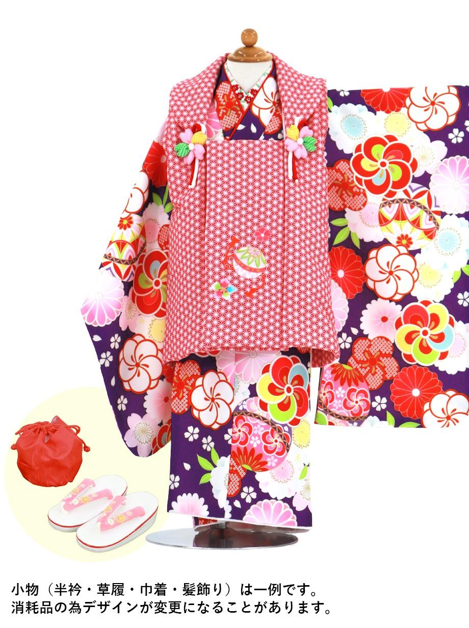 紫地にねじ梅と桜、鞠の着物、赤色の麻の葉模様の被布コートセット/七五三・三歳女の子*