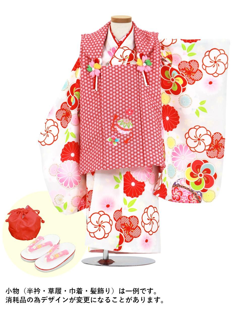 白地にねじ梅と桜、鞠の着物、赤地の麻の葉模様の被布コートセット/七五三・三歳女の子
