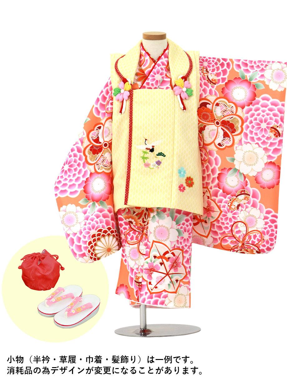 蜜柑色に菊とまり、黄色と赤の被布コートセット/七五三・三歳女の子