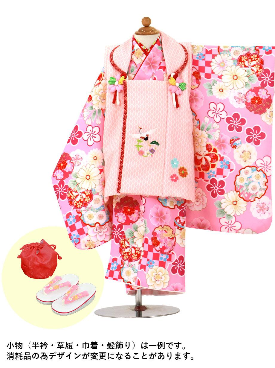 ピンク地に市松の雲、ピンクと赤の被布コートセット/七五三・三歳女の子