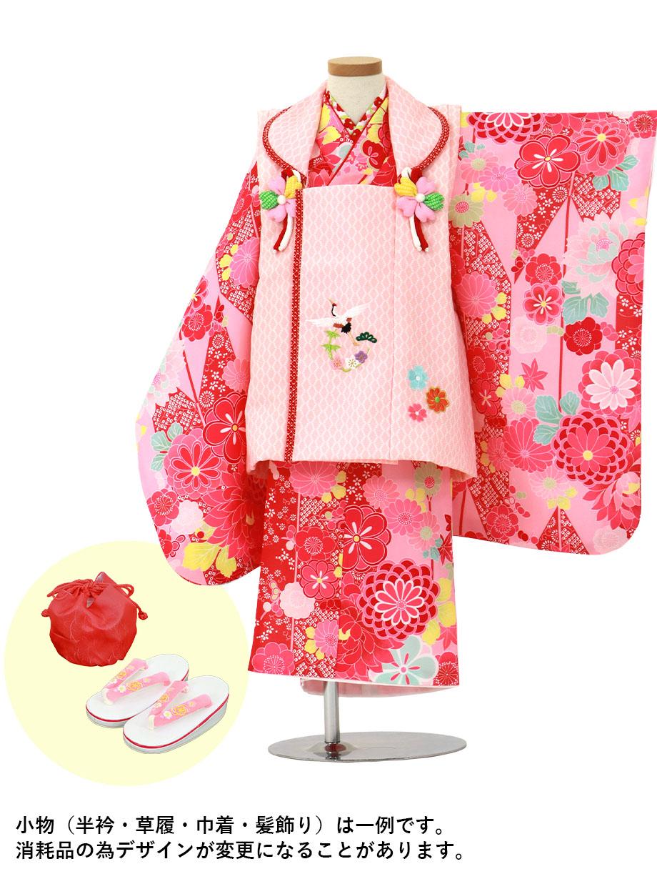 ピンクの矢絣にダリア、ピンクと赤の被布コートセット/七五三・三歳女の子