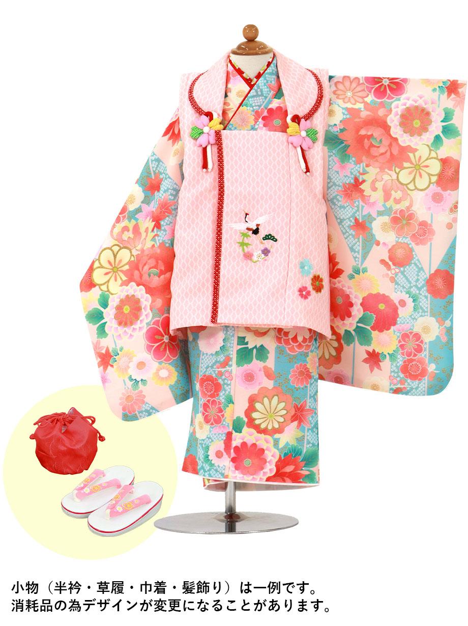 うすい杏色の矢絣にダリア、ピンクと赤の被布コートセット/七五三・三歳女の子