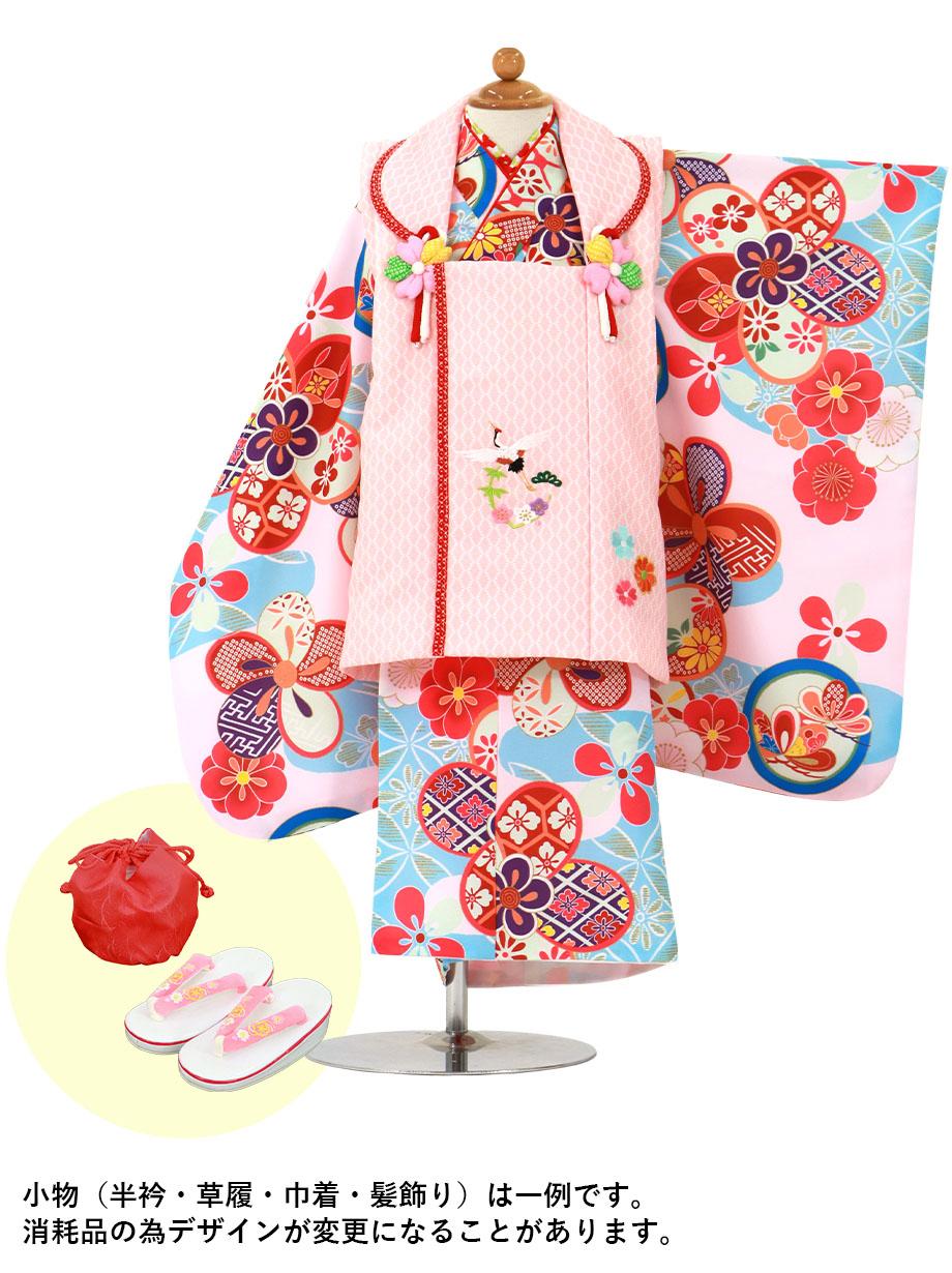 桜色地に水色と丸紋、ピンクと赤の被布コートセット/七五三・三歳女の子