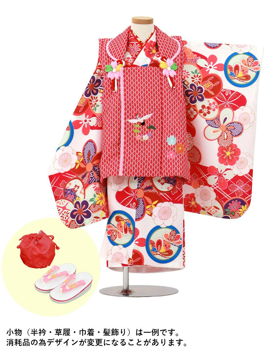 白地に赤紫と丸紋、赤とピンクの被布コートセット/七五三・三歳女の子