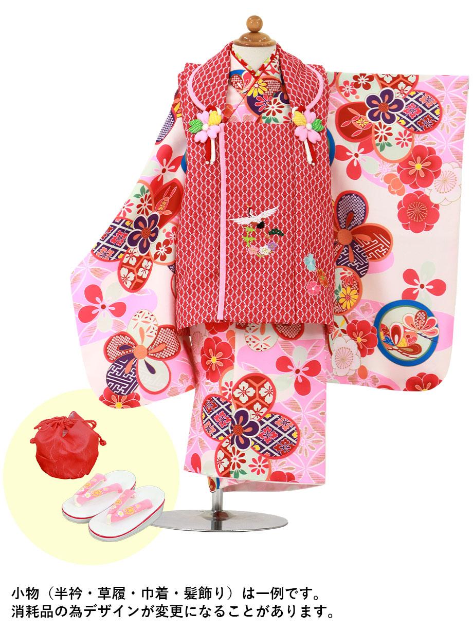 白地にピンクと丸紋、赤とピンクの被布コートセット/七五三・三歳女の子