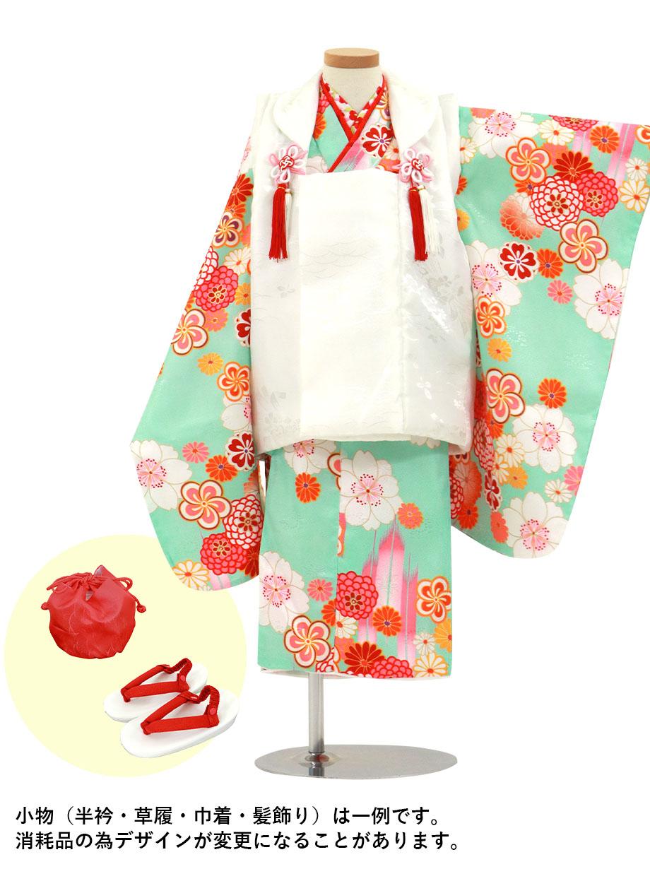 水色地に桜と矢絣、白の被布コートセット/七五三・三歳女の子