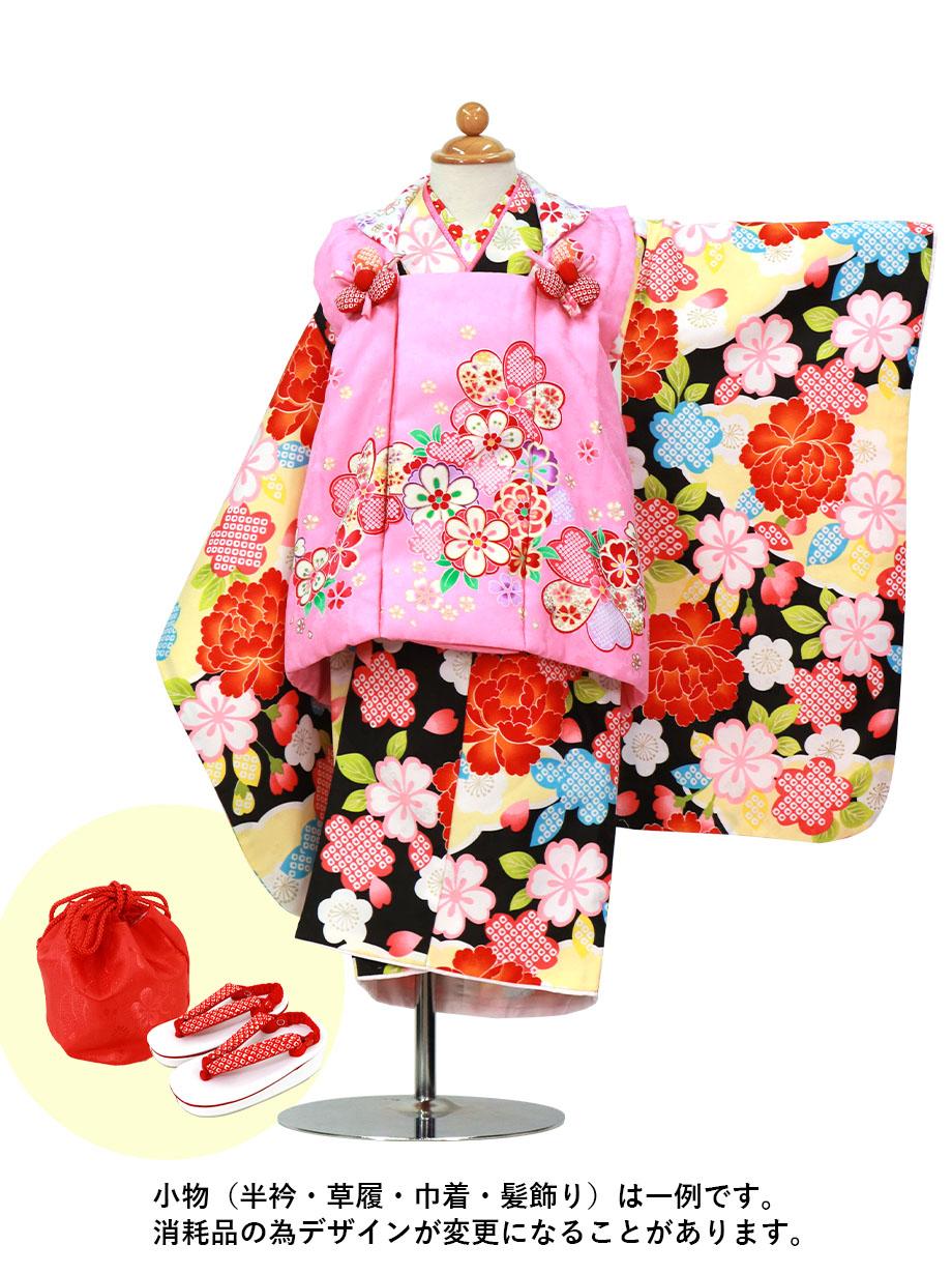 黒地に牡丹と桜、ピンクの被布コートセット/七五三・三歳女の子