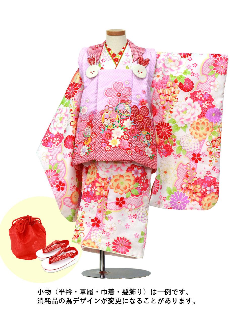 白地に牡丹と雪輪、疋田に桜と鈴の被布コートセット/七五三・三歳女の子